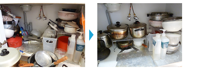 お片づけ事例、キッチンシンク下収納