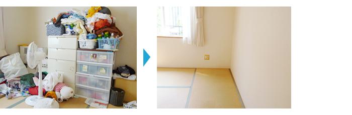 整理収納事例、お客さまも泊まれる広々和室